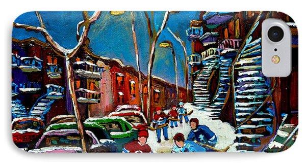 Hockey Game On De Bullion Montreal City Scene Phone Case by Carole Spandau