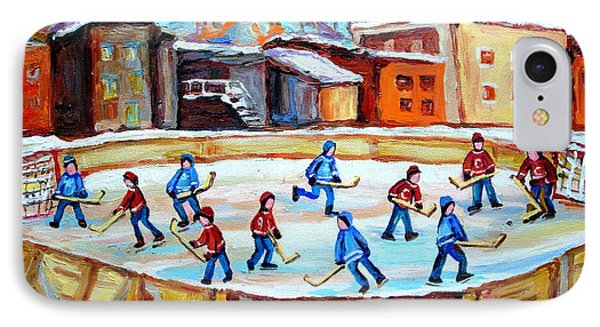 Hockey In The City Outdoor Hockey Rink Montreal Memories Winter City Scenes Painting Carole Spandau  IPhone Case by Carole Spandau