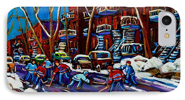 Hockey On De Bullion Montreal Phone Case by Carole Spandau