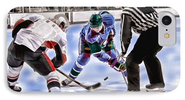 Hockey Players And Referee In Bold Watercolor IPhone Case by Elaine Plesser