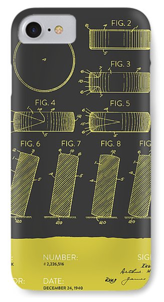 Hockey Puck Patent From 1940 - Gray Yellow IPhone Case by Aged Pixel