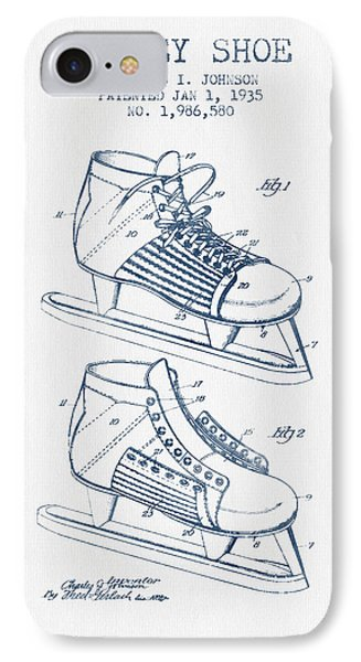 Hockey Shoe Patent Drawing From 1935- Blue Ink IPhone Case