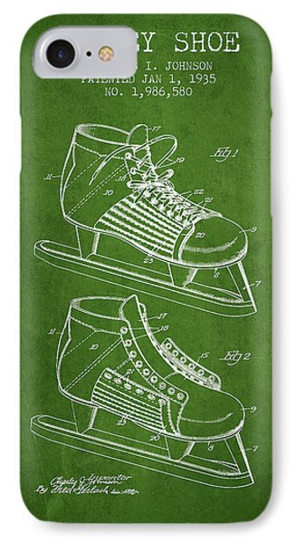 Hockey Shoe Patent Drawing From 1935 - Green IPhone Case