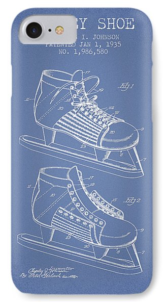 Hockey Shoe Patent Drawing From 1935 - Light Blue IPhone Case by Aged Pixel