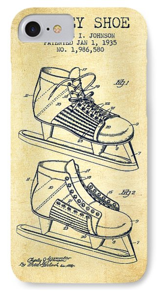 Hockey Shoe Patent Drawing From 1935 - Vintage IPhone Case by Aged Pixel