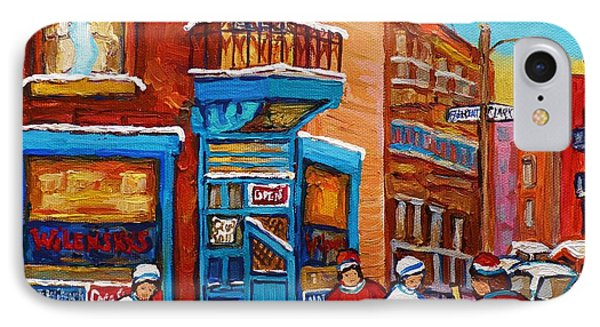 Hockey Stars At Wilensky's Diner Street Hockey Game Paintings Of Montreal Winter  Carole Spandau IPhone Case by Carole Spandau