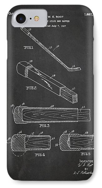 Hockey Stick And Buffer Patent Drawing From 1927 IPhone Case by Aged Pixel