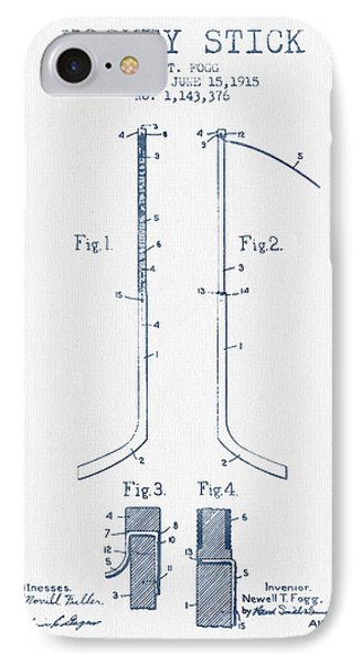 Hockey Stick Patent Drawing From 1915 - Blue Ink IPhone Case by Aged Pixel
