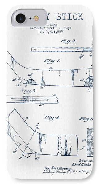 Hockey Stick Patent Drawing From 1931 - Blue Ink IPhone Case by Aged Pixel