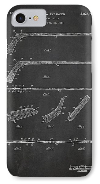 Hockey Stick Patent Drawing From 1934 IPhone Case by Aged Pixel