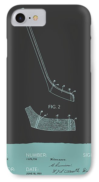 Hockey Stick Patent From 1901 - Gray Blue IPhone Case by Aged Pixel