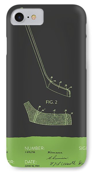 Hockey Stick Patent From 1901 - Gray Green IPhone Case by Aged Pixel