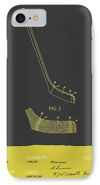 Hockey Stick Patent From 1901 - Gray Yellow IPhone Case by Aged Pixel