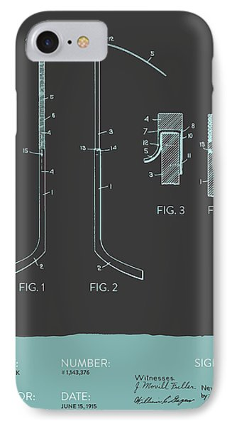 Hockey Stick Patent From 1915 - Gray Blue IPhone Case by Aged Pixel