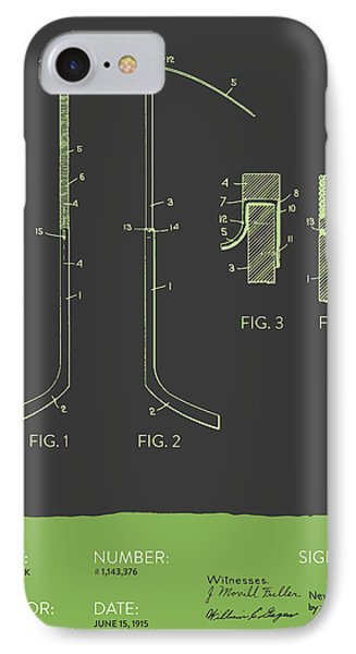 Hockey Stick Patent From 1915 - Gray Green IPhone Case by Aged Pixel