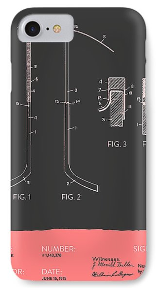 Hockey Stick Patent From 1915 - Gray Salmon IPhone Case by Aged Pixel