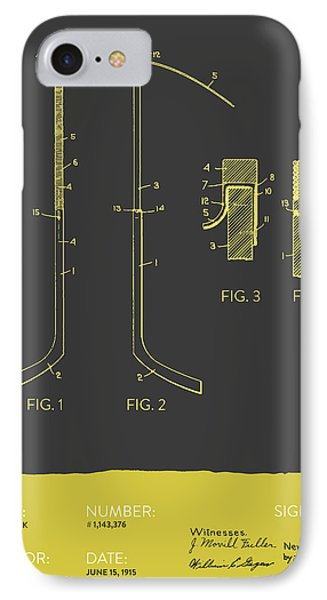 Hockey Stick Patent From 1915 - Gray Yellow IPhone Case by Aged Pixel