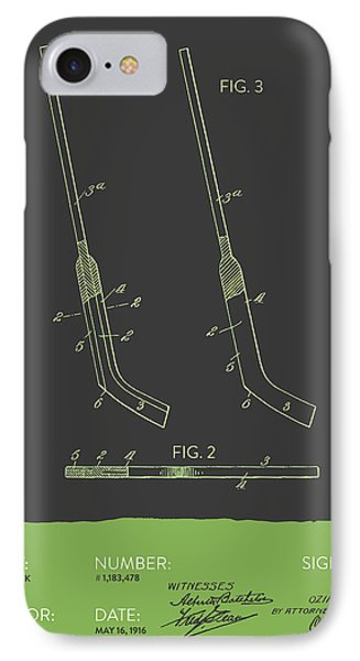 Hockey Stick Patent From 1916 - Gray Green IPhone Case by Aged Pixel