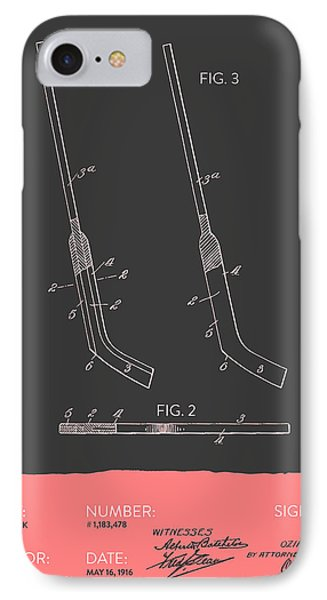 Hockey Stick Patent From 1916 - Gray Salmon IPhone Case by Aged Pixel