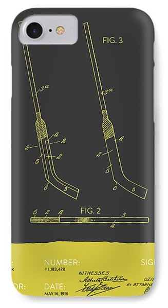 Hockey Stick Patent From 1916 - Gray Yellow IPhone Case by Aged Pixel