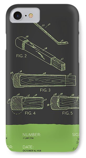 Hockey Stick Patent From 1928 - Gray Green IPhone Case by Aged Pixel