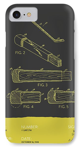 Hockey Stick Patent From 1928 - Gray Yellow IPhone Case by Aged Pixel
