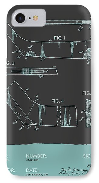 Hockey Stick Patent From 1931 - Gray Blue IPhone Case by Aged Pixel