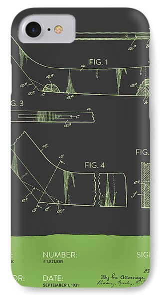 Hockey Stick Patent From 1931 - Gray Green IPhone Case by Aged Pixel