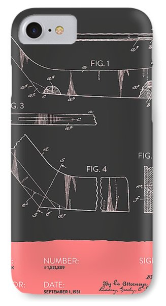 Hockey Stick Patent From 1931 - Gray Salmon IPhone Case by Aged Pixel