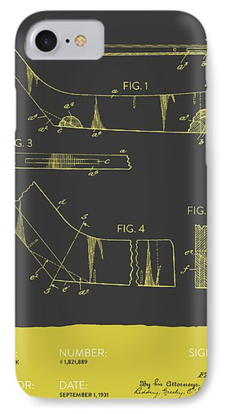 Hockey Stick Patent From 1931 - Gray Yellow IPhone Case by Aged Pixel