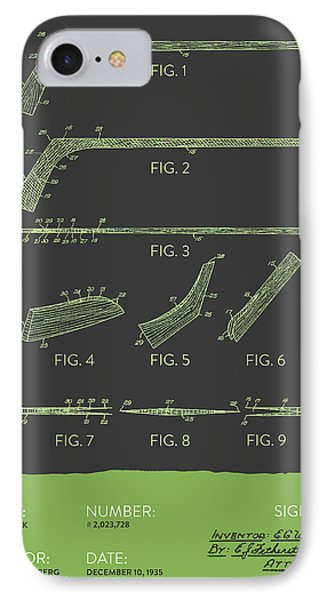 Hockey Stick Patent From 1935 - Gray Green IPhone Case by Aged Pixel