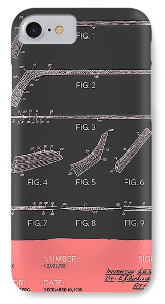 Hockey Stick Patent From 1935 - Gray Salmon IPhone Case by Aged Pixel