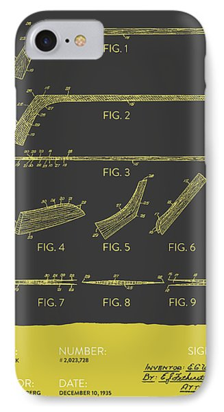 Hockey Stick Patent From 1935 - Gray Yellow IPhone Case by Aged Pixel
