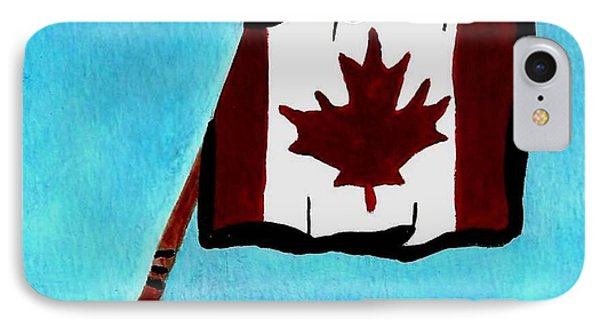 Hockey Stick With Canadian Flag Phone Case by Gail Matthews