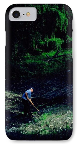 Hoeing Garden Along The Deep River IPhone Case by Rory Cubel