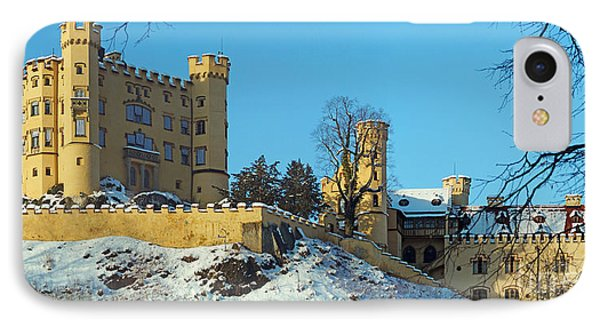 Hohenschwangau Castle Panorama In Winter Phone Case by Rudi Prott