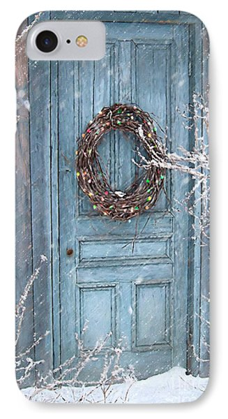 Barn Door And Holiday Wreath/digital Painting IPhone Case by Sandra Cunningham
