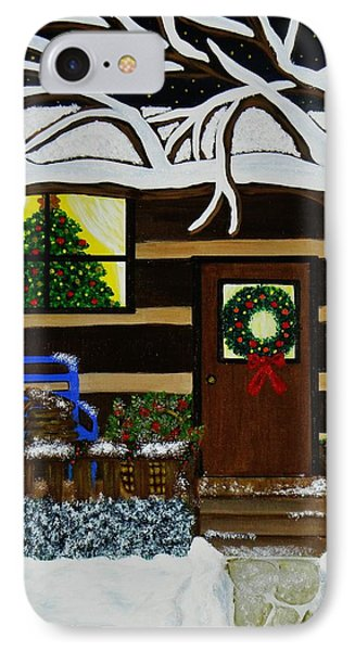 IPhone Case featuring the painting Holiday Cabin by Celeste Manning