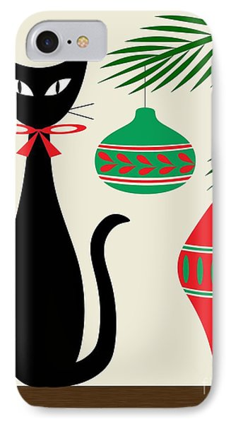 Holiday Cat On Cream IPhone Case by Donna Mibus