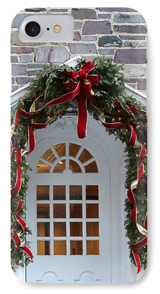 IPhone Case featuring the photograph Holiday Door Wreath by Ann Murphy