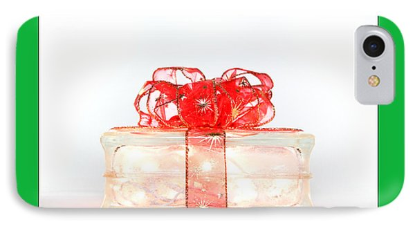 Holiday Glass Gift Box With Red Bow Phone Case by Jo Ann Tomaselli