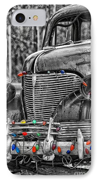 Holiday Lights On Old Truck IPhone Case by Birgit Tyrrell