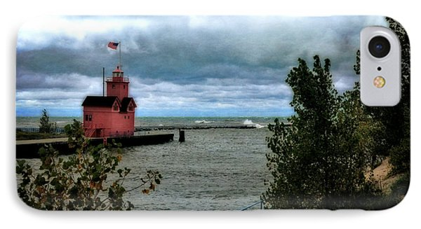 Holland Harbor Light With Big Winds IPhone Case by Michelle Calkins