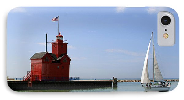 Holland Harbor Lighthouse With Sailboat IPhone Case