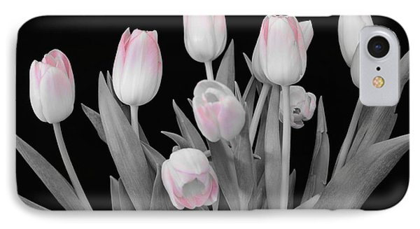 IPhone Case featuring the photograph Holland Tulips In Black And White With Pink by Jeannie Rhode