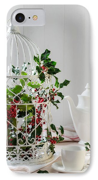 Holly And Berries Birdcage IPhone Case by Amanda Elwell