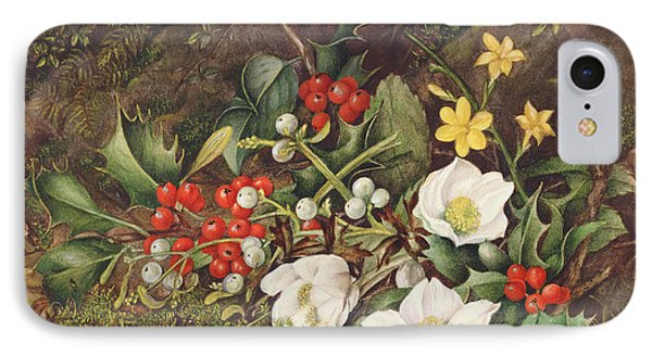 Holly And Christmas Roses IPhone Case by Jane Taylor