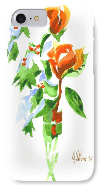 IPhone Case featuring the painting Holly With Red Roses In A Vase by Kip DeVore