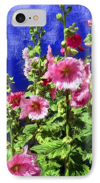 Hollyhock Haven IPhone Case by Ric Darrell