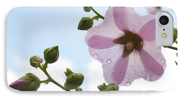 IPhone Case featuring the photograph Hollyhock With Raindrops by Lana Enderle